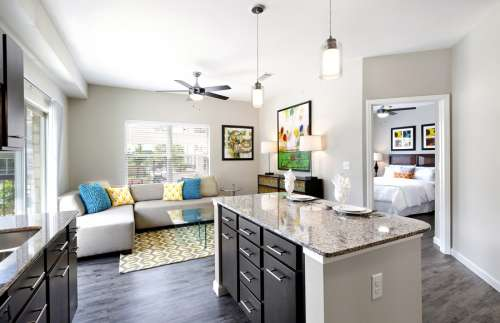 The Standard at Leander Station - Kitchen Island and Living Room